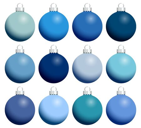 Twelve Shiny Monochrome Christmas Baubles Blue With Silver