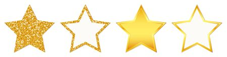 Set Of Four Straight Golden Stars Sparkling And Shining