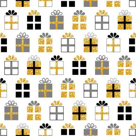Seamless Pattern Square Glitter Gold Black Gray