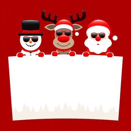 Snowman Reindeer And Santa Sunglasses Holding Wish List Dots Dark Red