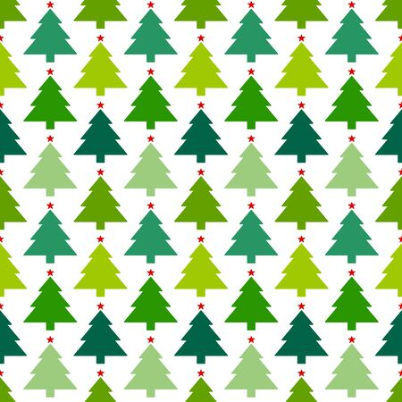 Seamless Pattern Christmas Trees With Stars In Lines Red Green