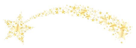 Curved Falling Star With Tail Made Of Big And Little Shiny Stars Gold
