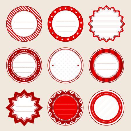 Set Of Round Christmas Label Red And White Illusztráció