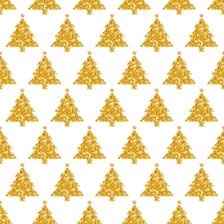 Seamless Pattern Straight Golden Trees With Stars Glitter Sparkling  イラスト・ベクター素材