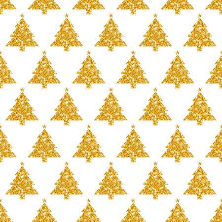 Seamless Pattern Straight Golden Trees With Stars Glitter Sparkling Illusztráció