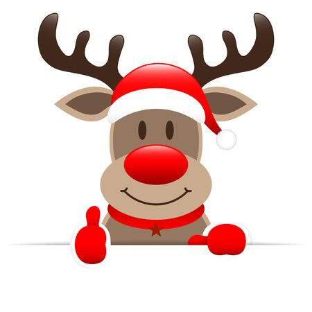 Reindeer Holding Horizontal Banner Right Thumb Up Illusztráció