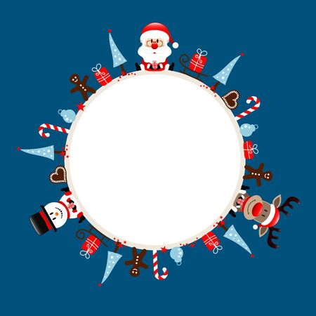 Round Christmas Frame Santa Reindeer And Snowman Icons Dark Blue
