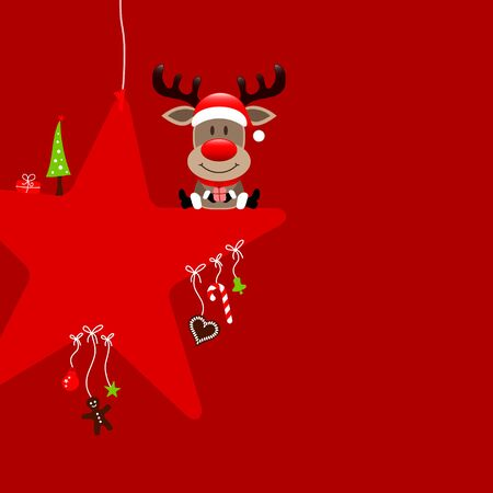 Square Reindeer Sitting On Stars With Candy Cane Red Icons