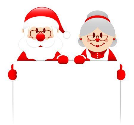 Santa And Santa's Wife Holding White Label