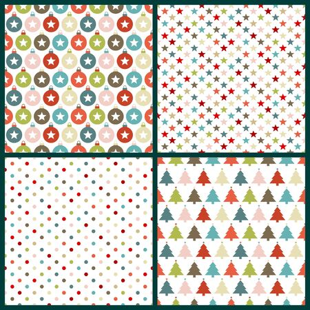Set Of Four Seamless Christmas Pattern Retro Colors