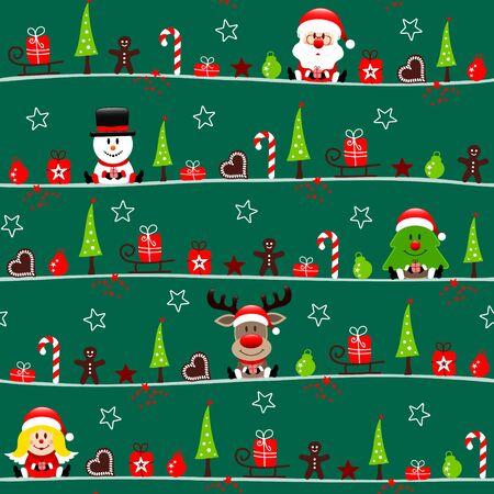 Seamless Pattern Santa Snowman Tree Reindeer And Angel Icons Dark Green