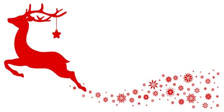 Red Flying Reindeer With Stars Looking Forward Snowflakes