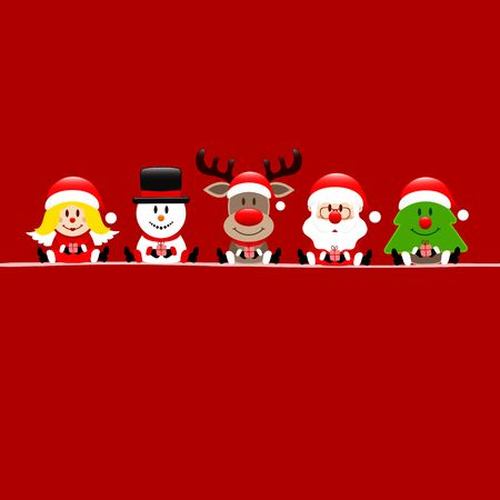 Square Red Card Angel Snowman Reindeer's Santa And Tree