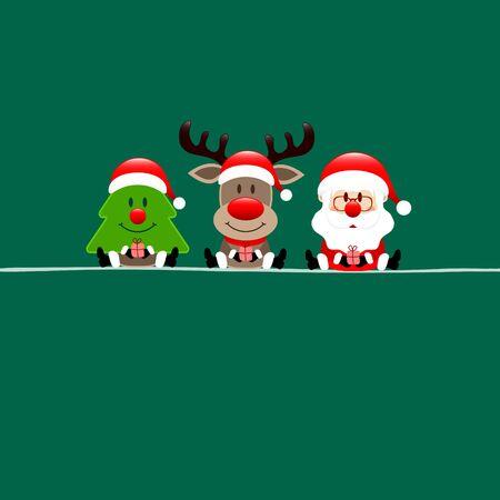 Square Christmas Card Tree Reindeer And Santa Claus Dark Green