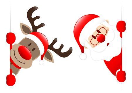 Big Red Reindeer And Santa Claus Banner Inside Illusztráció