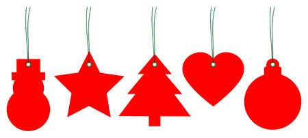 Set Of Five Red Christmas Hangtags With Green Strings