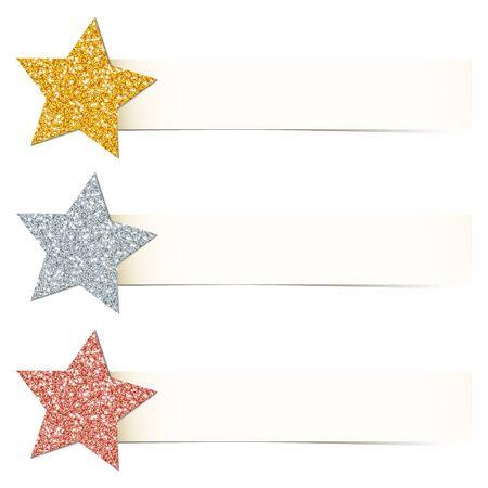 Set Three Beige Banner With Twisted Glitter Stars Gold Silver Copper Illusztráció