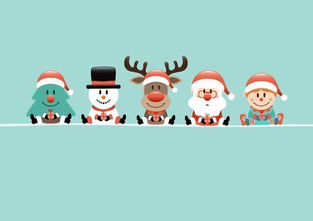 Turquoise Card Tree Snowman Reindeer Santa Claus And Elf Illusztráció
