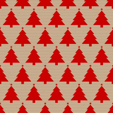 Seamless Pattern Brown Paper And Big Red Christmas Trees Illusztráció