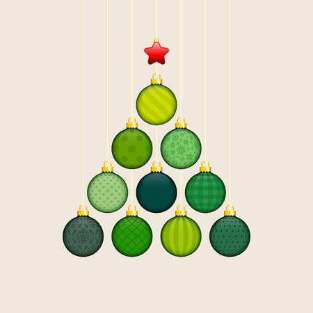 Abstract Christmas Tree Made Of Green Baubles With Gold Pattern Red Star Beige Background