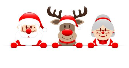 Santa Reindeer And Grandma Holding Horizontal Banner