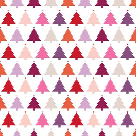 Seamless Pattern Big Christmas Tree With Stars Pink Red Purple Beige
