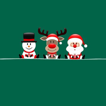 Square Christmas Card Snowman Reindeer And Santa Dark Green