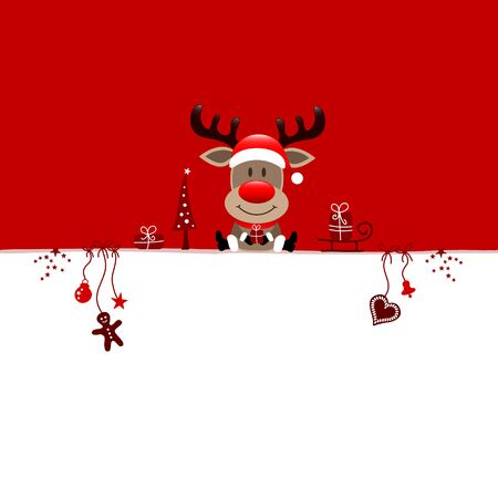 Square Christmas Card Reindeer And Icons Red White