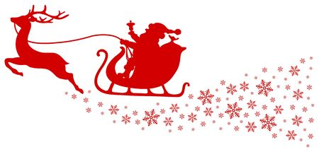 Red Christmas Sleigh One Reindeer With Snowflakes