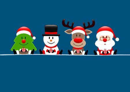 Christmas Card Tree Snowman Reindeer And Santa Dark Blue
