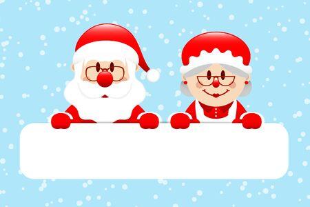Gift Card Santa Claus And Mrs. Santa Snow Light Blue Illusztráció