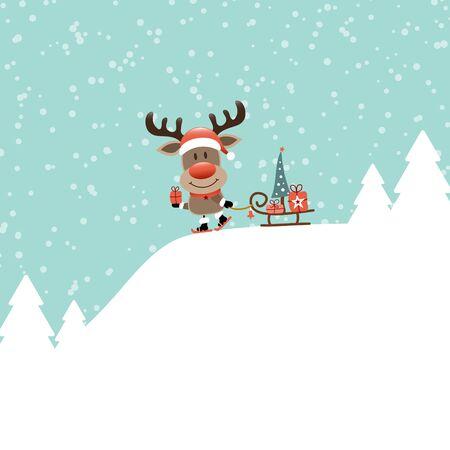 Reindeer With Ski And Sleigh Tree On Mountain Turquoise