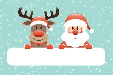 Reindeer And Santa Claus Gift Card Snow Turquoise