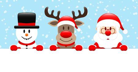 Snowman Reindeer And Santa Claus Horizontal Banner Snow Light Blue
