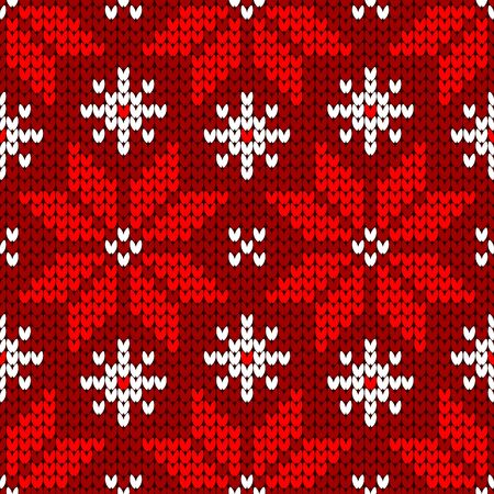 Seamless Pattern Knitted Big Poinsettia Red And White Illusztráció