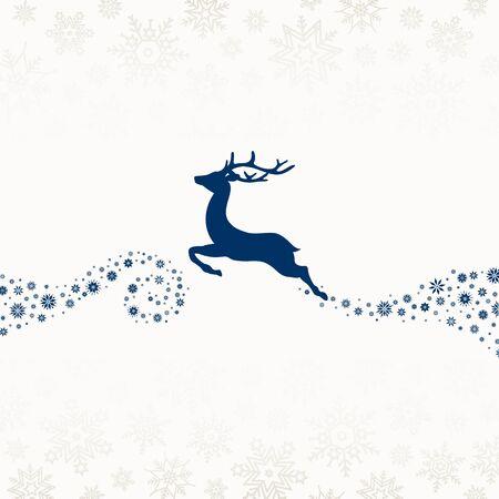 Dark Blue To The Left Flying Reindeer Snowflakes Beige Illusztráció