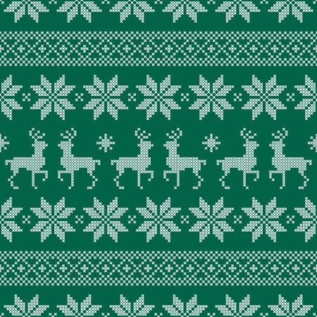 Seamless Pattern Christmas Norwegian Style Embroidery Green And White