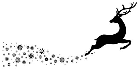 Black Reindeer With Snowflakes Jumping To The Right
