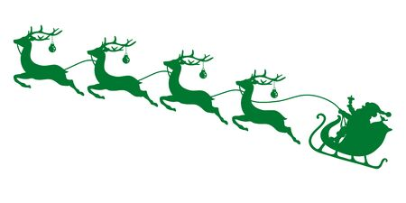 Green Christmas Sleigh Santa And Four Flying Reindeer's Baubles