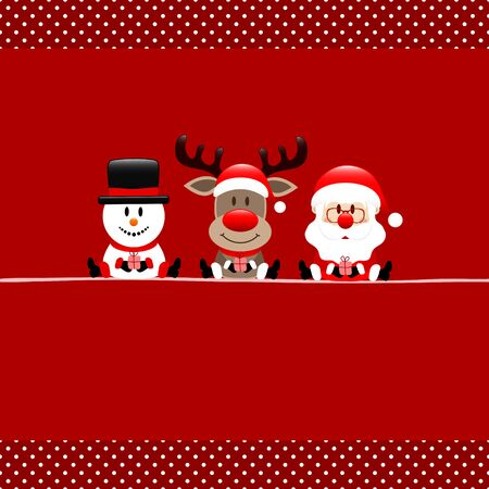 Square Christmas Card Snowman Reindeer And Santa Claus Dots Border Red Ilustracja