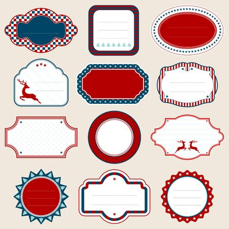Set Of Twelve Frames Christmas Reindeer Red Blue White Beige