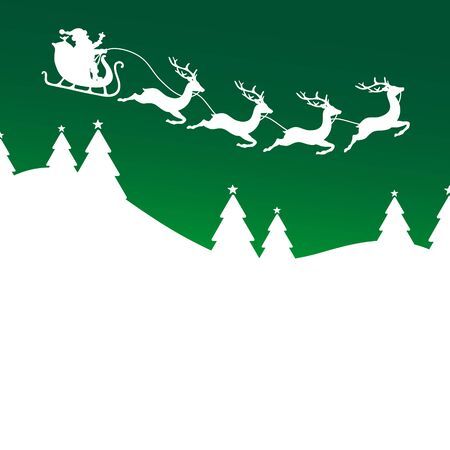 Christmas Sleigh Four Reindeers Above Forest Green Background