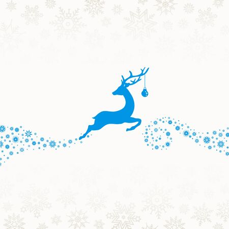 Blue Reindeer With Bauble Jump To The Right Snowflakes Beige Ilustracja
