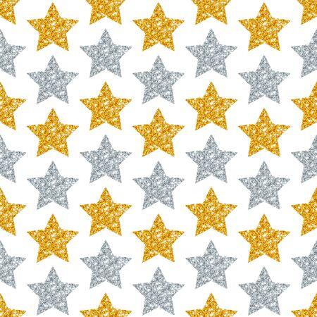 Seamless Pattern Geometric Stars Glitter Sparkling Gold Silver