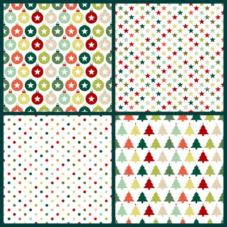 Set Of Four Christmas Seamless Pattern Red And Green