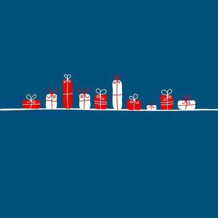 Red And White Gifts On A Dark Blue Background Illusztráció