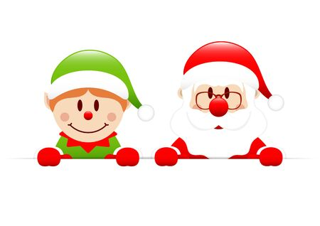 Elf And Santa Claus Holding Horizontal Banners Illusztráció