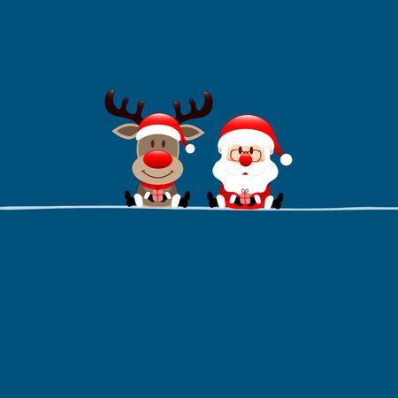 Square Christmas Card Reindeer And Santa Claus Dark Blue