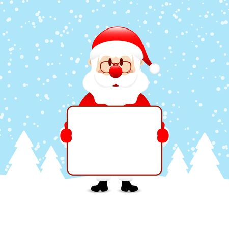 Santa Claus With Label In The Forest Snow Blue