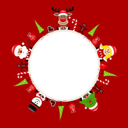 Round Christmas Frame Santa Reindeer Angel Tree And Snowman Icons Red Illusztráció